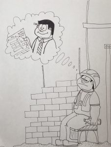 Bricklayer decides to drink on the job while doubting his boss' plans