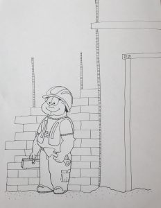 Brickmason delighted with his work - brick wall